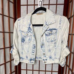 Cropped acid wash denim jacket